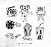 Cinema signs. Clapperboard, movie camera, chair, cine film, 3d glasses, popcorn, soda drawing on dirty paper background set 1 Stock Photos