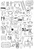 Cinema signs. Hand drawn cinema signs set Royalty Free Stock Images