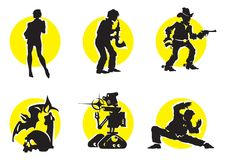 Cinema Silhouettes Icons_11. Cinema Silhouettes Icons in the different genres Royalty Free Stock Images