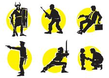 Cinema Silhouettes Icons_13. Cinema Silhouettes Icons in the different genres Stock Image