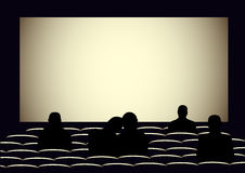 Cinema with silhouettes of people Royalty Free Stock Images