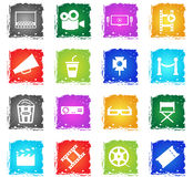 Cinema simply icons. Cinema simply symbols in grunge style for user interface design Royalty Free Stock Photo