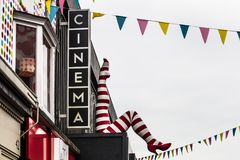 Cinema sing and facade. In an english town stock photography