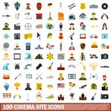 100 cinema site icons set, flat style. 100 cinema site icons set in flat style for any design vector illustration Royalty Free Illustration
