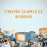Cinema sketch seamless border Stock Photos