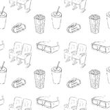 Cinema Sketch Seamless Pattern Royalty Free Stock Photography
