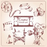 Cinema sketch set Royalty Free Stock Images