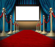 Cinema stage blank curtains red carpet. Cinema stage with blank screen and blue curtains on red carpet Royalty Free Stock Photos