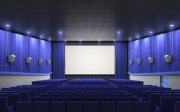 Cinema stage blue. 3d render cinema stage blue (sound system, spectacular lighting, upholstered in red fabric Royalty Free Stock Image