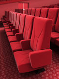Cinema stage. 3d render cinema stage seats close-up(sound system, spectacular lighting, upholstered in red fabric Stock Images