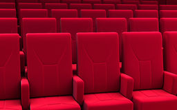 Cinema stage. 3d render cinema stage seats close-up(sound system, spectacular lighting, upholstered in red fabric Stock Photography