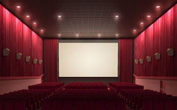 Cinema stage. 3d render cinema stage (sound system, spectacular lighting, upholstered in red fabric Royalty Free Stock Photos