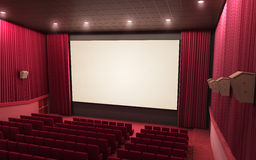 Cinema stage. 3d render cinema stage (sound system, spectacular lighting, upholstered in red fabric Royalty Free Stock Image
