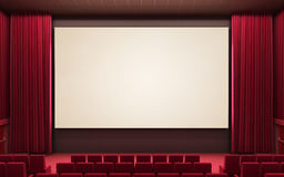 Cinema stage. 3d render cinema stage (sound system, spectacular lighting, upholstered in red fabric Stock Image