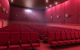 Cinema stage. 3d render cinema stage (sound system, spectacular lighting, upholstered in red fabric Royalty Free Stock Photography