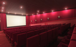 Cinema stage. 3d render cinema stage (sound system, spectacular lighting, upholstered in red fabric Stock Photo