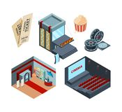 Cinema stage isometric. Inside interior of movie hall entertainment illustrations cinema ticket red curtains vector vector illustration
