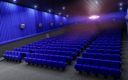 Cinema stage seats blue. 3d render cinema stage (sound system, spectacular lighting, upholstered in blue fabric Royalty Free Stock Photography