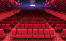 Cinema stage seats. 3d render cinema stage (sound system, spectacular lighting, upholstered in red fabric Royalty Free Stock Photography