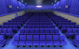 Cinema stage seats. 3d render cinema stage seats (sound system, spectacular lighting, upholstered in red fabric Stock Images