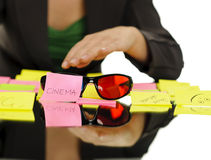 Cinema on sticky note Stock Images