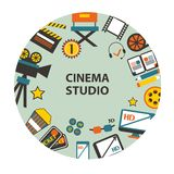 Cinema studio emblem. On a light background Stock Photo