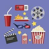 Cinema stuff set. Popcorn and soda, clapboard and tickets Stock Photos