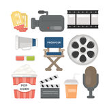 Cinema stuff set. Tickets and camera, popcorn and mic and more Stock Photography