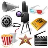 Cinema symbols. Set isolated on white Royalty Free Stock Image