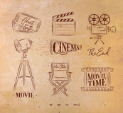 Cinema symbols craft. Cinema symbols ticket, clapperboard, movie camera, horn, searchlight, chair for a movie star, cine film drawing with craft set 2 Royalty Free Stock Photos