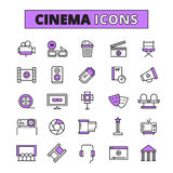 Cinema symbols outlined icons set Stock Image