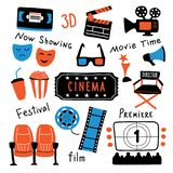 Cinema symbols set with ink lettering. Movie time and 3d glasses, popcorn, clapperboard, ticket, screen, camera, film, chairs. vector illustration