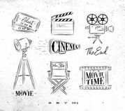 Cinema symbols. Ticket, clapperboard, movie camera, horn, searchlight, chair for a movie star, cine film drawing on dirty paper background set 2 Royalty Free Stock Photos