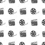 Cinema tape, film reel and clapperboard vintage seamless pattern, handdrawn sketch, retro movie and film industry, vector illustra. Tion Royalty Free Stock Image