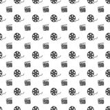 Cinema tape, film reel and clapperboard vintage seamless pattern, handdrawn sketch, retro movie and film industry, vector illustra. Tion Royalty Free Stock Photography