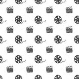 Cinema tape, film reel and clapperboard vintage seamless pattern, handdrawn sketch, retro movie and film industry, vector illustra. Tion Stock Images