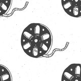 Cinema tape and film reel vintage seamless pattern, handdrawn sketch. Cinema tape and film reel vintage seamless pattern, handdrawn sketch, retro movie and film Stock Image