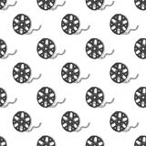 Cinema tape and film reel vintage seamless pattern, handdrawn sketch, retro movie and film industry, vector illustration.  Royalty Free Stock Photo