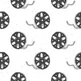 Cinema tape and film reel vintage seamless pattern, handdrawn sketch, retro movie and film industry, vector illustration.  Stock Photo