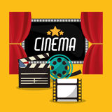 Cinema teather reel film clapper and board. Vector illustration eps 10 Royalty Free Stock Photos