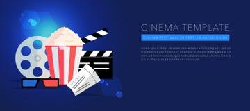 Cinema template background vector. Cinema template background, lens flare, vector on blue Royalty Free Stock Photo