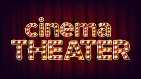 Cinema Theater Banner Vector. Cinema Glowing Lamps. For Concert, Party Design. Modern Illustration. Cinema Theater Banner Vector. Cinema Glowing Lamps. For Royalty Free Stock Images