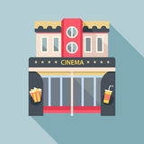 Cinema theater building detailed flat icon. royalty free illustration