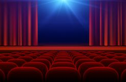 Cinema or theater hall with stage, red curtain and seats vector illustration. Cinema theater and curtain for stage royalty free illustration