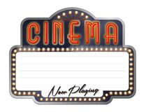 Cinema Theater Marquee Now Playing. Neon Cinema Movie Theater Marquee with Now Playing Lettering and Tivoli Lights Stock Photos