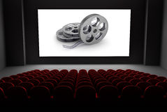 Cinema theater with reels of film on the screen. 3d image royalty free illustration