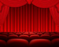Cinema or theater scene with a curtain Stock Photo