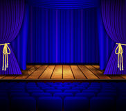 Cinema or theater scene with a curtain. Royalty Free Stock Image