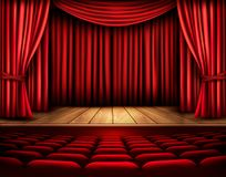 Cinema or theater scene with a curtain. Royalty Free Stock Photo