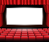 Cinema or theater scene with a curtain. Vector. Stock Photos